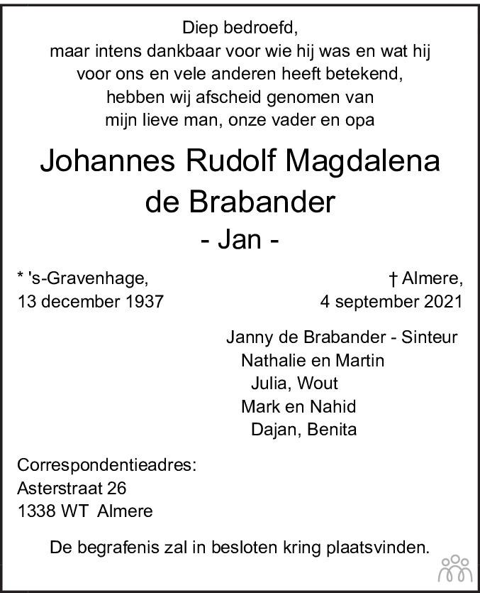 Overlijdensbericht van Johannes Rudolf Magdalena (Jan) de Brabander in Leidsch Dagblad