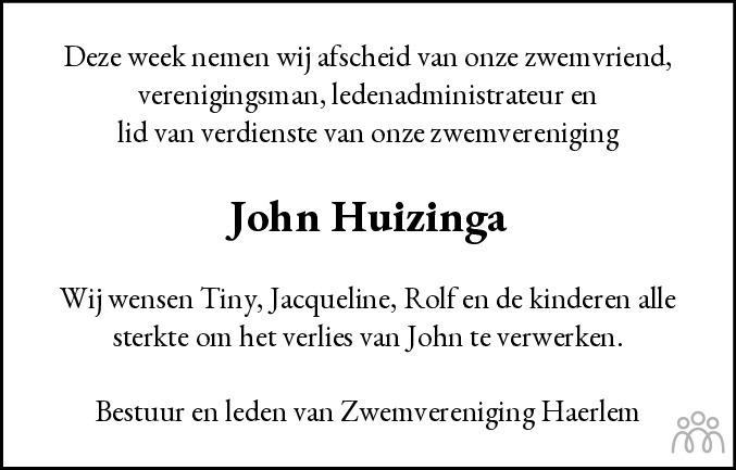 Overlijdensbericht van John Huizinga in Haarlems Dagblad Kombinatie