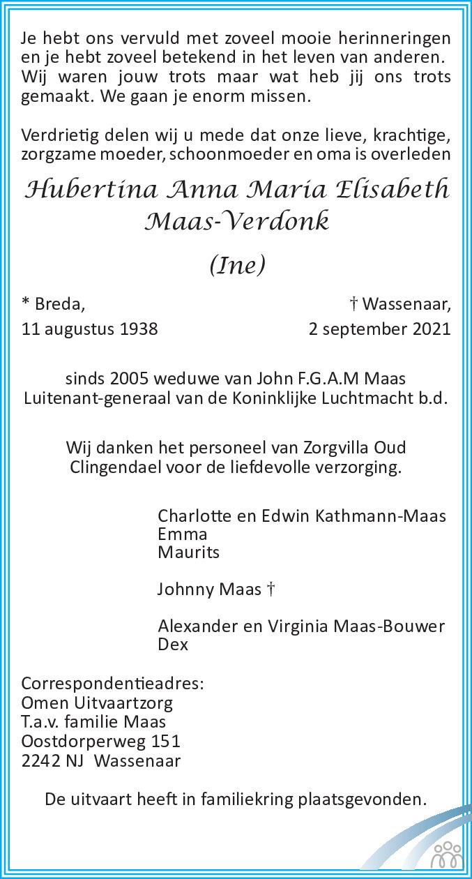 Overlijdensbericht van Hubertina Anna Maria Elisabeth (Ine) Maas-Verdonk in de Telegraaf