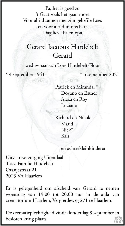 Overlijdensbericht van Gerard Jacobus Hardebelt in Haarlems Dagblad Kombinatie