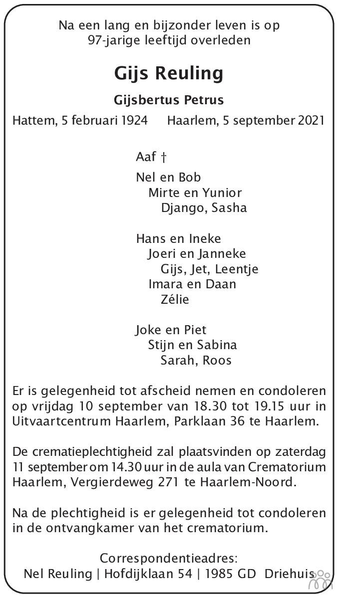 Overlijdensbericht van Gijs (Gijsbertus Petrus) Reuling in Haarlems Dagblad Kombinatie