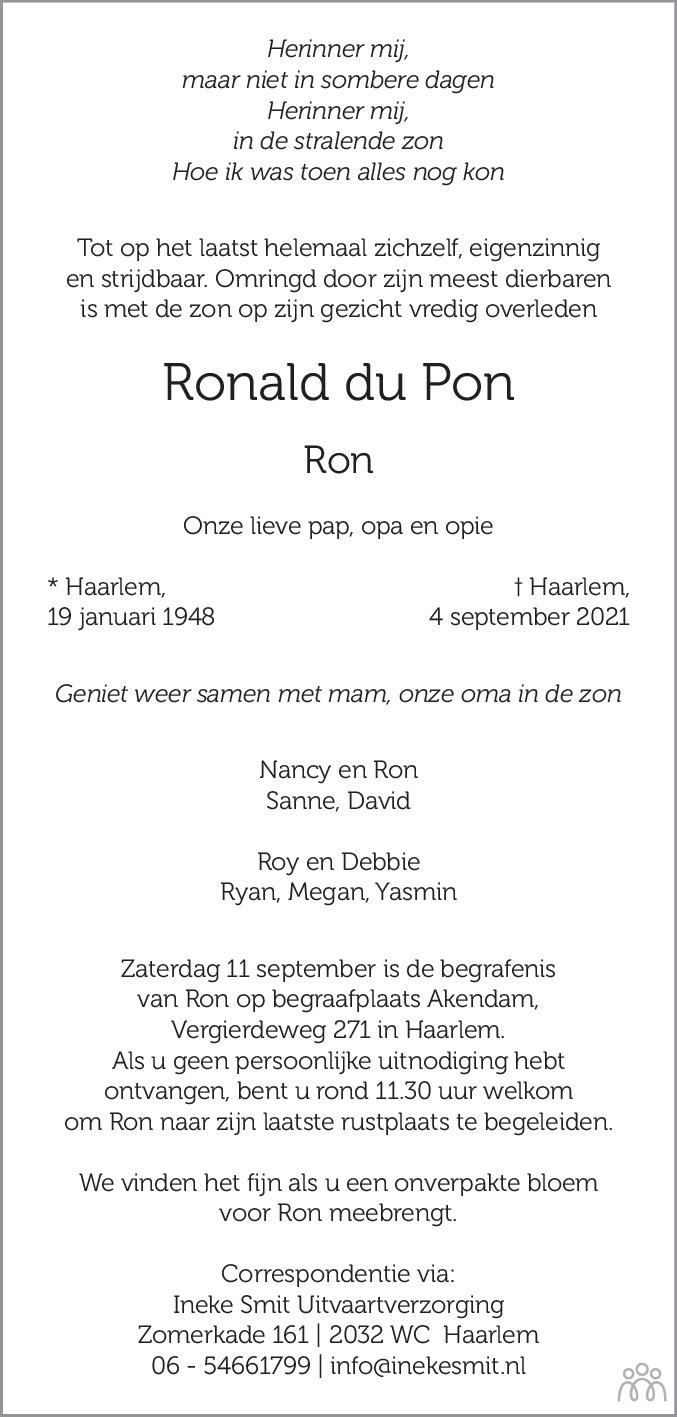 Overlijdensbericht van Ronald (Ron) du Pon in Haarlems Dagblad Kombinatie