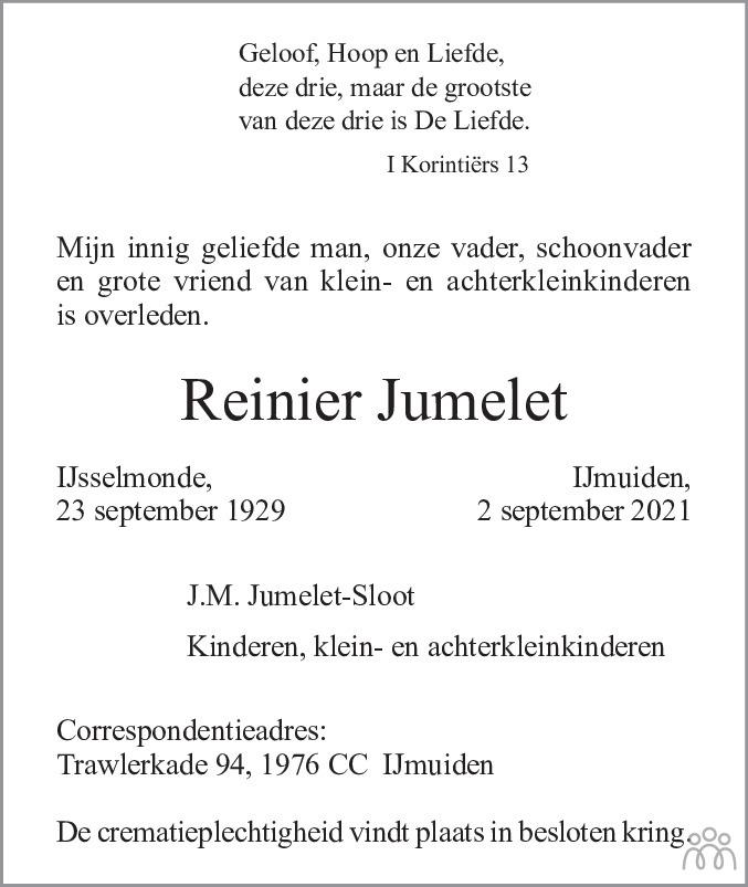 Overlijdensbericht van Reinier Jumelet in Haarlems Dagblad Kombinatie