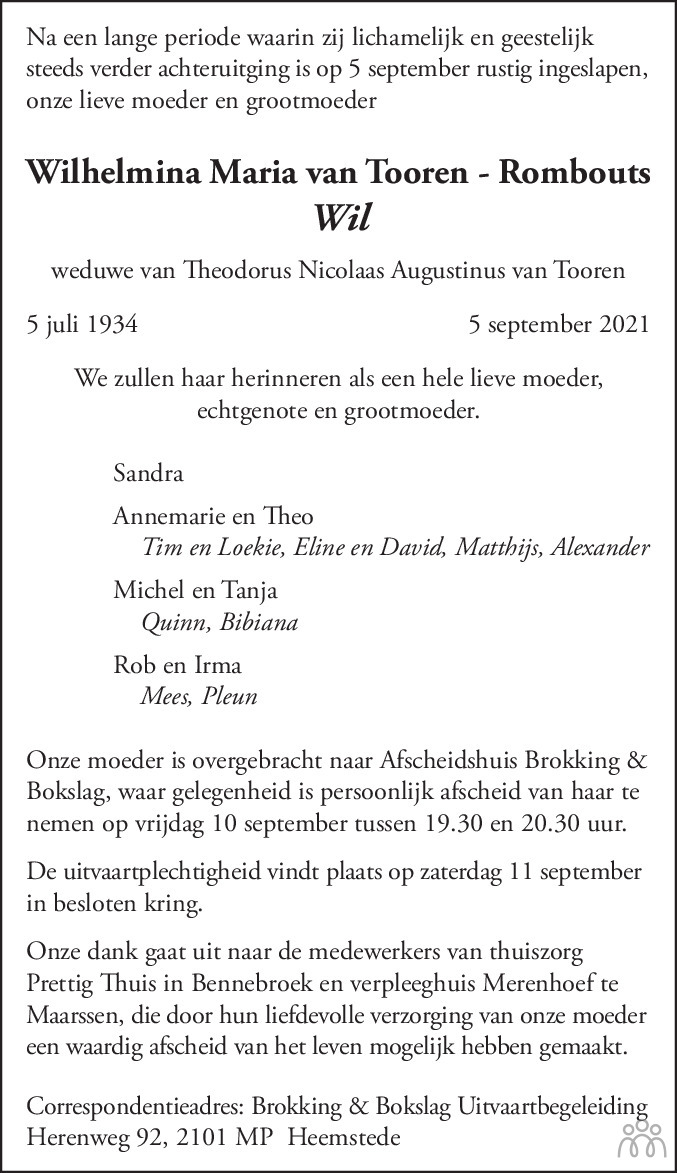 Overlijdensbericht van Wilhelmina Maria (Wil) van Tooren - Rombouts in Haarlems Dagblad Kombinatie