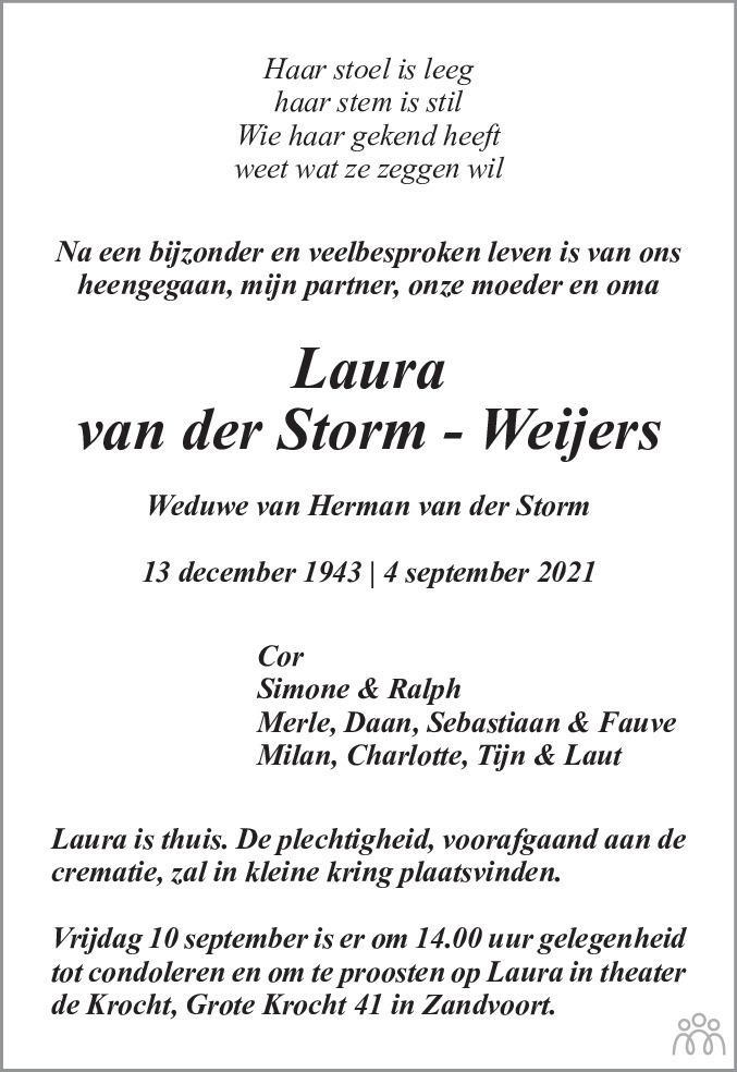 Overlijdensbericht van Laura van der Storm-Weijers in Haarlems Dagblad Kombinatie