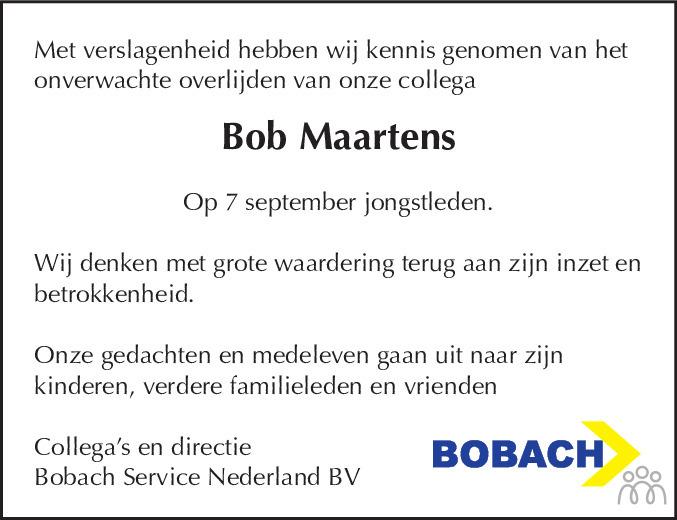 Overlijdensbericht van Bob Maartens in Dagblad Kennemerland