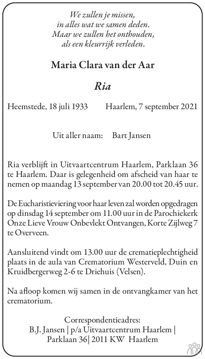 Overlijdensbericht van Maria Clara (Ria) van der Aar in Haarlems Dagblad Kombinatie
