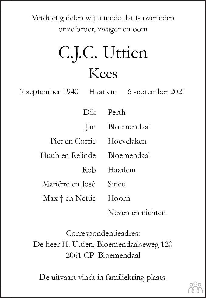 Overlijdensbericht van C.J.C. Kees Uttien in Haarlems Dagblad Kombinatie