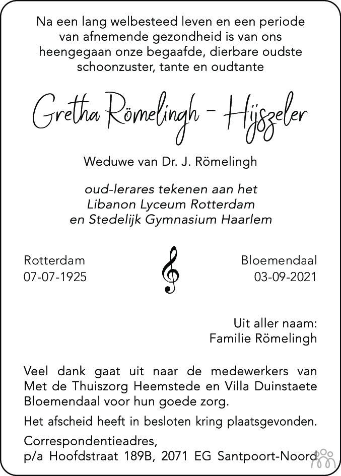 Overlijdensbericht van Gretha Römelingh-Hijszeler in Haarlems Dagblad Kombinatie