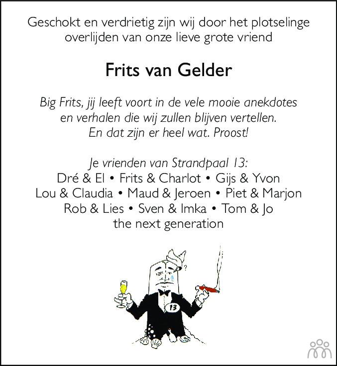 Overlijdensbericht van Frederik Gerard (Frits) van Gelder in De Gooi- en Eemlander