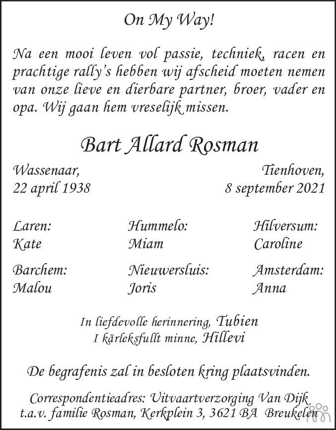 Overlijdensbericht van Bart Allard Rosman in de Telegraaf