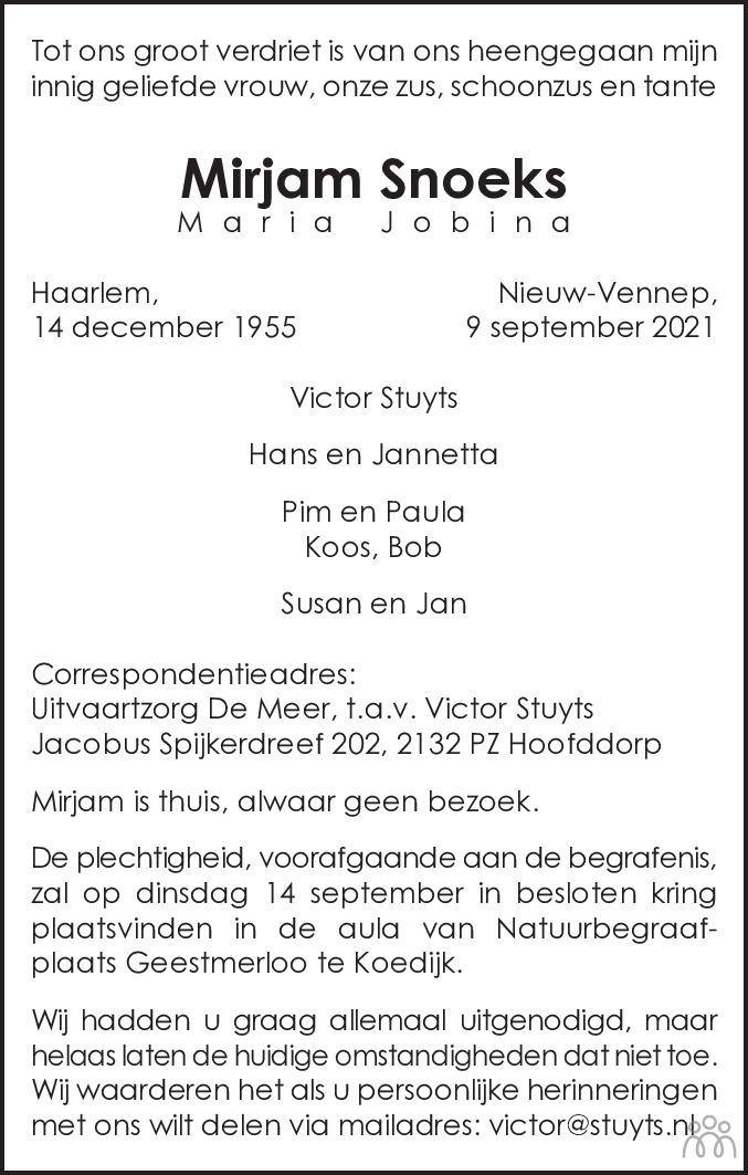 Overlijdensbericht van Mirjam (Maria Jobina) Snoeks in Haarlems Dagblad Kombinatie