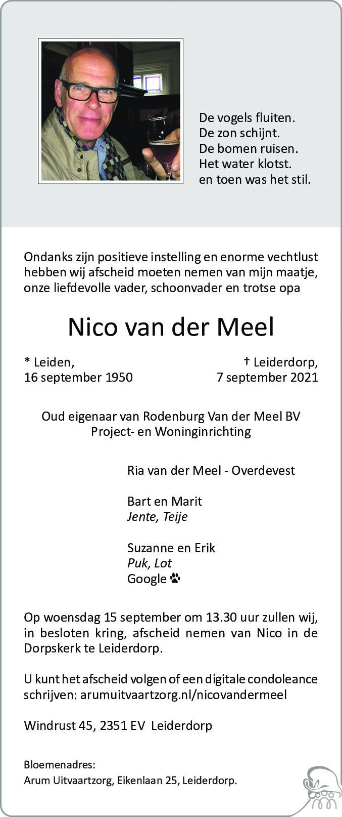 Overlijdensbericht van Nico van der Meel in Leidsch Dagblad