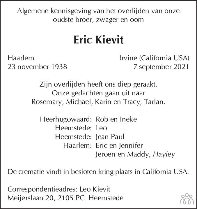 Overlijdensbericht van Eric Kievit in Haarlems Dagblad Kombinatie
