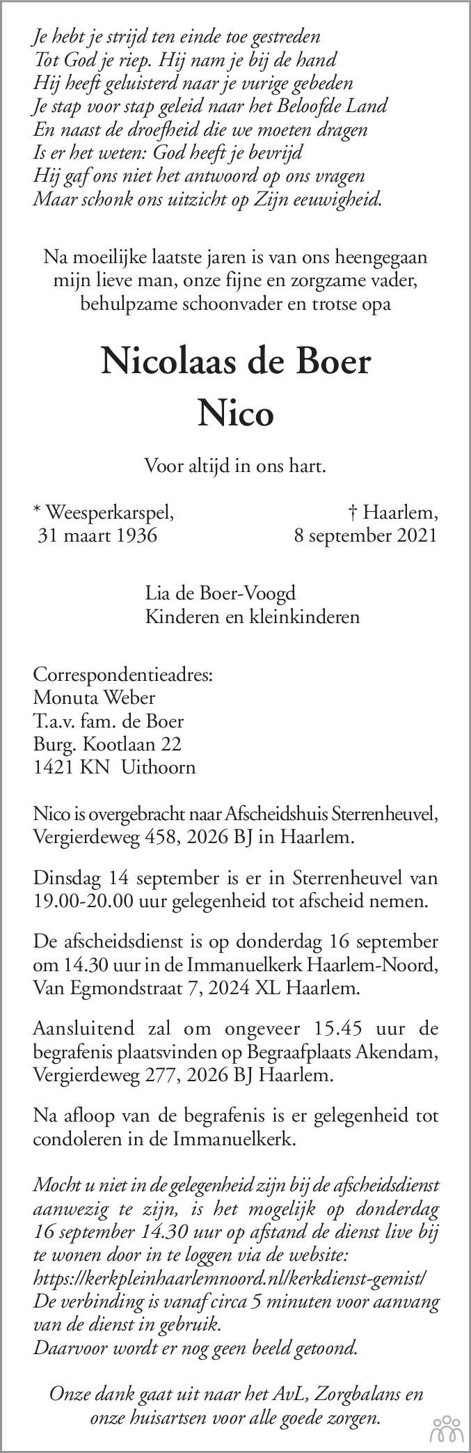 Overlijdensbericht van Nicolaas (Nico) de Boer in Haarlems Dagblad Kombinatie