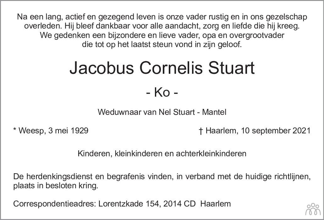 Overlijdensbericht van Jacobus Cornelis (Ko) Stuart in Haarlems Dagblad Kombinatie