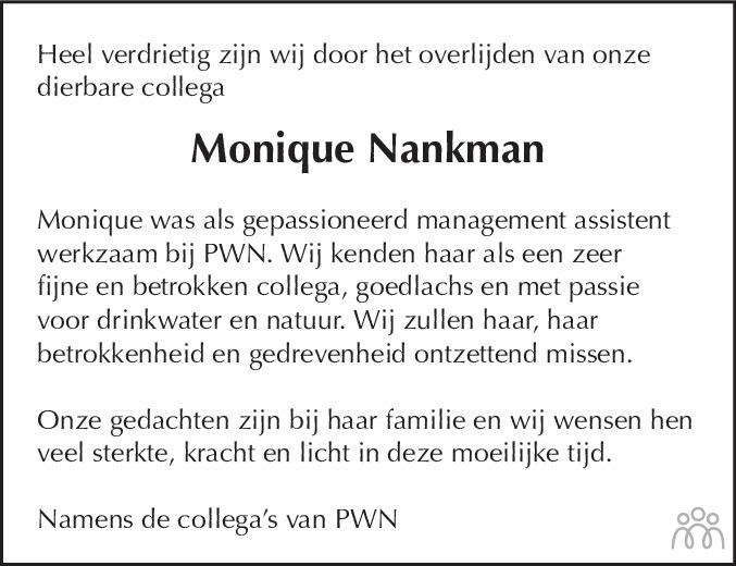 Overlijdensbericht van Monique Nankman in Leidsch Dagblad