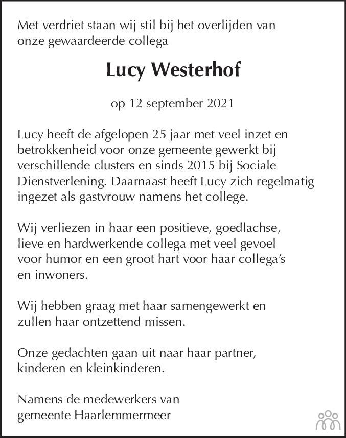 Overlijdensbericht van Lucy Westerhof in Haarlems Dagblad Kombinatie