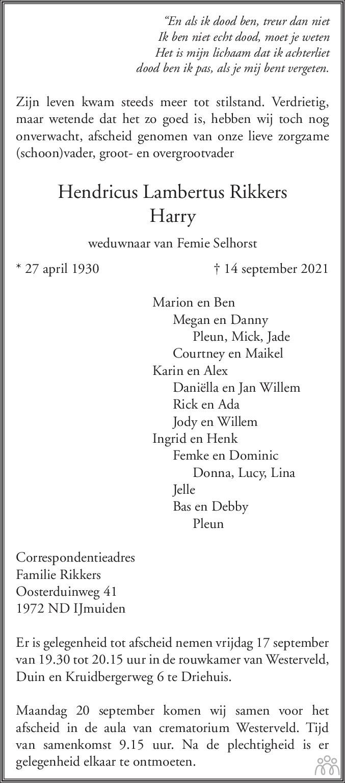 Overlijdensbericht van Hendricus Lambertus (Harry) Rikkers in Haarlems Dagblad Kombinatie