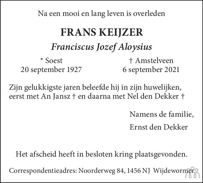 Overlijdensbericht van Frans (Franciscus Jozef Aloysius) Keijzer in de Telegraaf