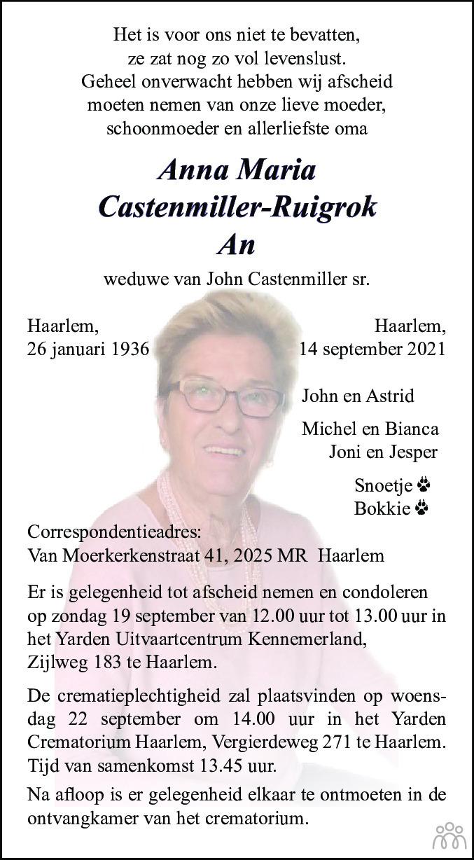 Overlijdensbericht van Anna Maria (An) Castenmiller-Ruigrok in Haarlems Dagblad Kombinatie