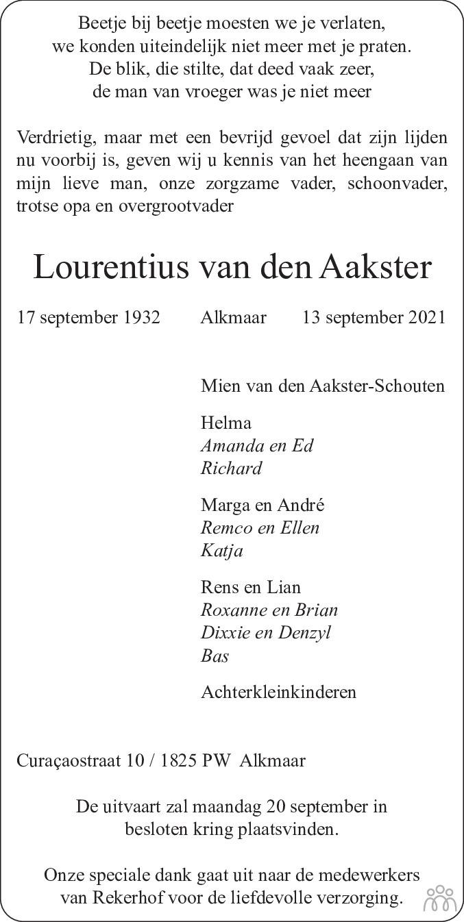 Overlijdensbericht van Lourentius van den Aakster in Alkmaarsche Courant