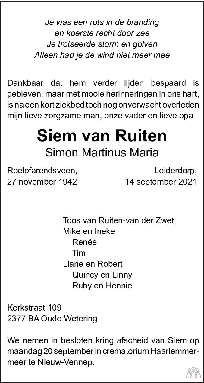 Overlijdensbericht van Siem (Simon Martinus Maria) van Ruiten in Leidsch Dagblad