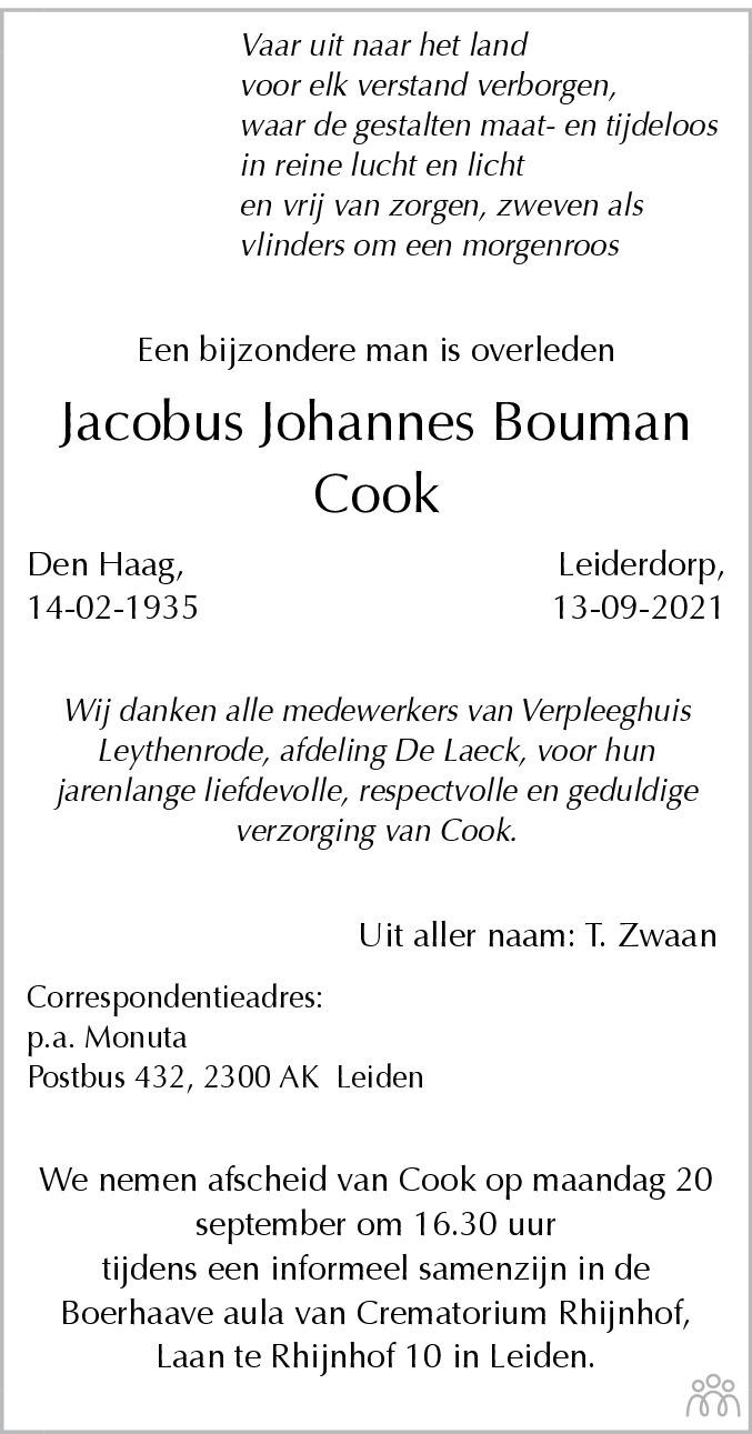 Overlijdensbericht van Jacobus Johannes (Cook) Bouman in Leidsch Dagblad