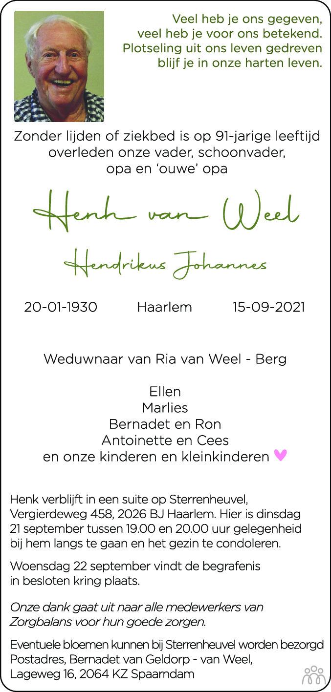 Overlijdensbericht van Henk (Hendrikus Johannes) van Weel in Haarlems Dagblad Kombinatie