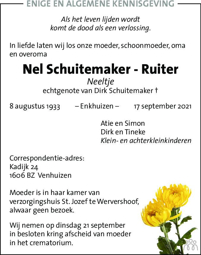 Overlijdensbericht van Nel (Neeltje) Schuitemaker-Ruiter in Dagblad voor West-Friesland