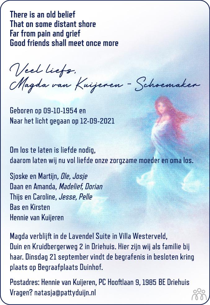 Overlijdensbericht van Magda van Kuijeren-Schoemaker in Haarlems Dagblad Kombinatie