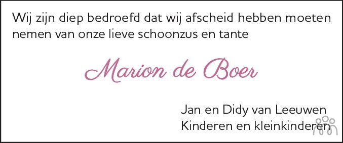 Overlijdensbericht van Marion de Boer-Blokdijk in Alkmaarsche Courant