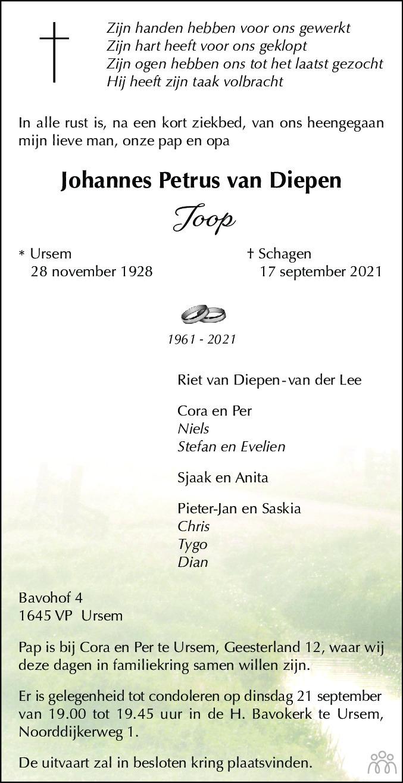Overlijdensbericht van Johannes Petrus (Joop) van Diepen in Alkmaarsche Courant