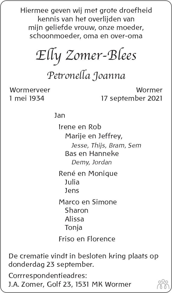 Overlijdensbericht van Elly (Petronella Joanna) Zomer-Blees in Dagblad voor West-Friesland