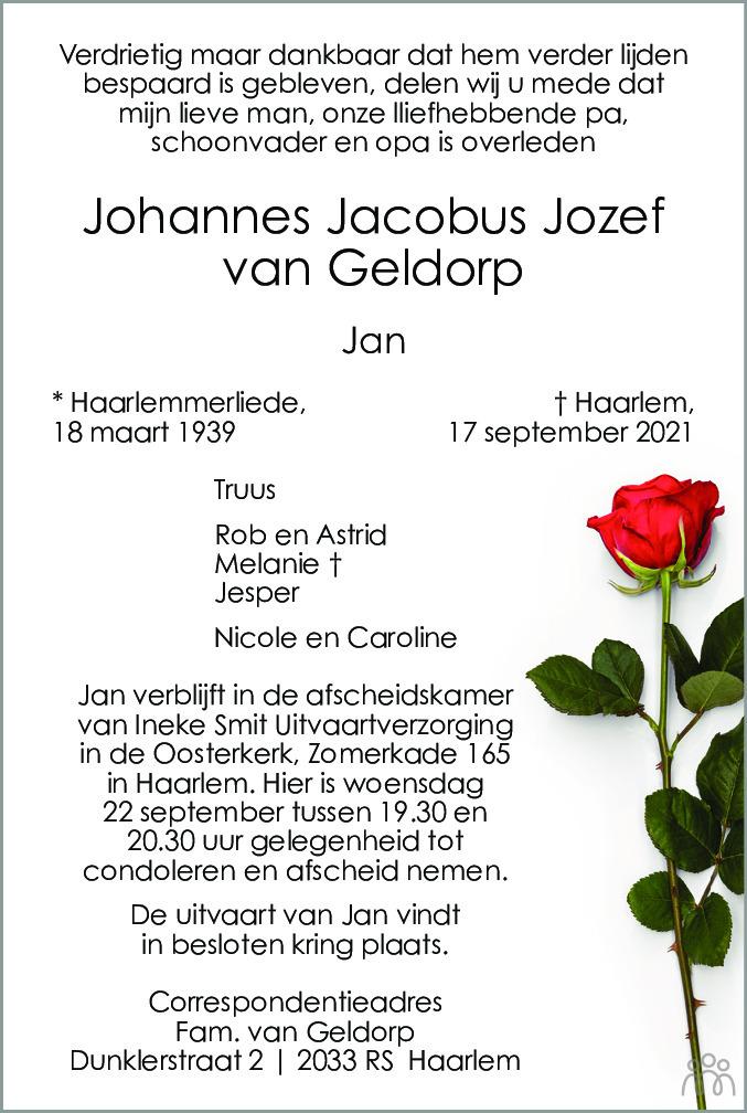 Overlijdensbericht van Johannes Jacobus Jozef (Jan) Van Geldorp in Haarlems Dagblad Kombinatie