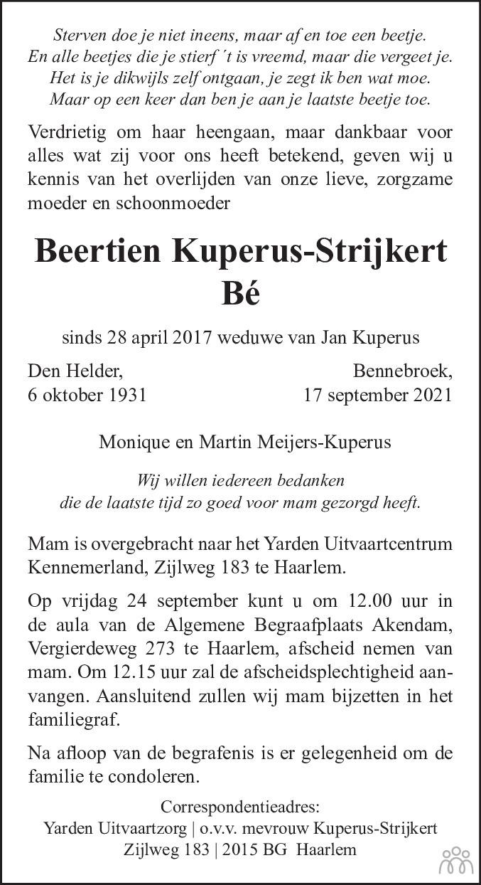 Overlijdensbericht van Beertien (Bé) Kuperus-Strijkert in Haarlems Dagblad Kombinatie