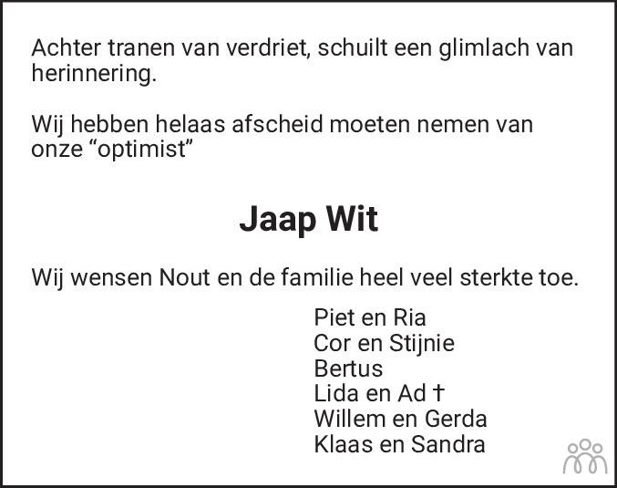 Overlijdensbericht van Jaap Wit in Schagen / Den Helder