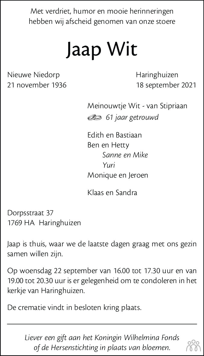 Overlijdensbericht van Jaap Wit in Dagblad voor West-Friesland