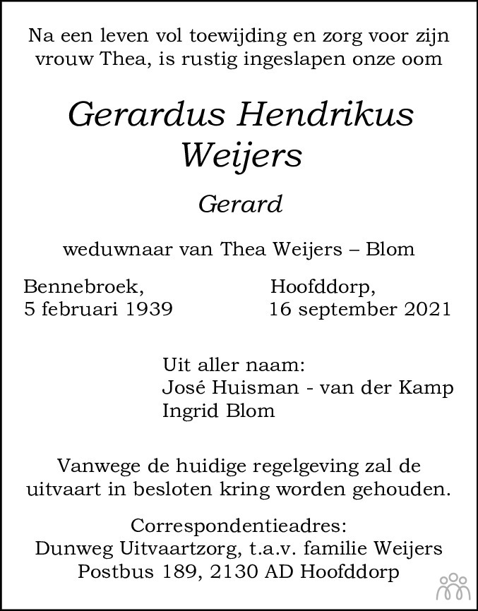 Overlijdensbericht van Gerardus Hendrikus (Gerard) Weijers in Haarlems Dagblad Kombinatie