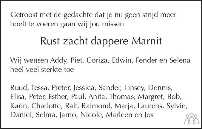 Overlijdensbericht van Marnit Stoffels in Alkmaarsche Courant