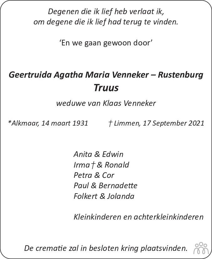 Overlijdensbericht van Geertruida Agatha Maria (Truus) Venneker-Rustenburg in Alkmaarsche Courant
