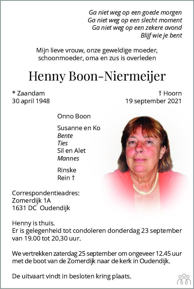 Overlijdensbericht van Henny Boon-Niermeijer in Dagblad voor West-Friesland