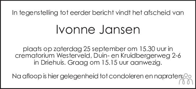 Overlijdensbericht van Ivonne Jansen in Haarlems Dagblad Kombinatie