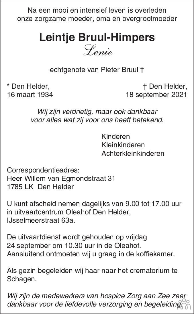 Overlijdensbericht van Leintje (Lenie) Bruul-Himpers in Schagen / Den Helder