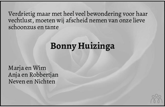 Overlijdensbericht van Bonny Huizinga-Högel in Schagen / Den Helder