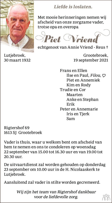 Overlijdensbericht van Piet Vriend in Dagblad voor West-Friesland