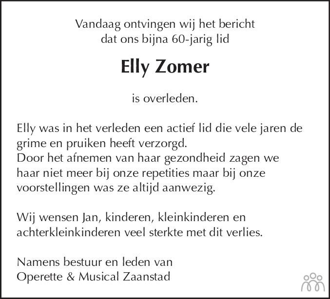 Overlijdensbericht van Elly (Petronella Joanna) Zomer-Blees in Dagblad Zaanstreek