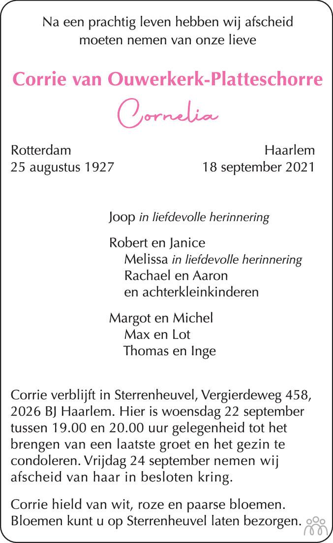 Overlijdensbericht van Cornelia (Corrie) van Ouwerkerk-Platteschorre in Haarlems Dagblad Kombinatie