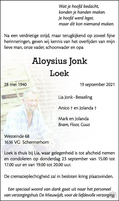 Overlijdensbericht van Aloysius (Loek) Jonk in Alkmaarsche Courant