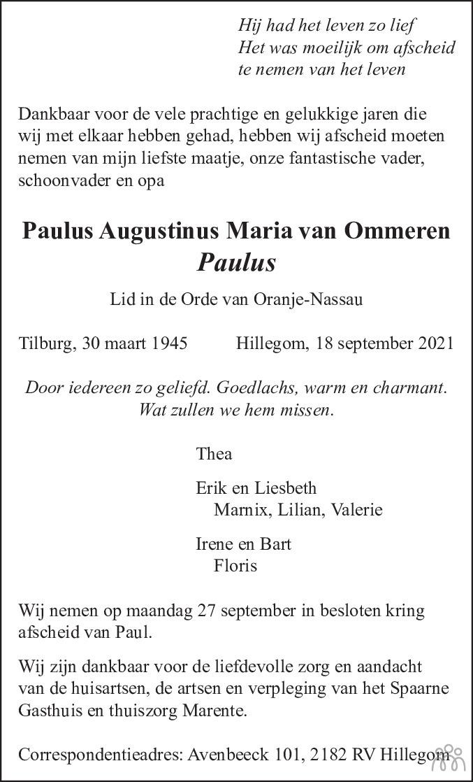 Overlijdensbericht van Paulus Augustinus Maria van Ommeren in Haarlems Dagblad Kombinatie